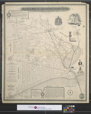 Primary view of object titled 'Revised map of Jefferson County, Texas : Showing land surveys, railroads and water ways.'.