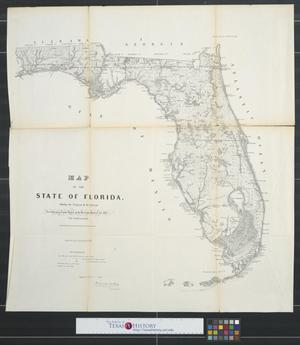 Primary view of object titled 'Map of the State of Florida : showing the progress of the surveys, accompanying annual report of the Surveyor General for 1856.'.