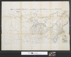 Primary view of object titled 'Map illustrating the Canada Pacific and Northern Pacific and other proposed Railroads, connecting at Straits of Mackinaw: Also showing the position of Mackinaw City.'.