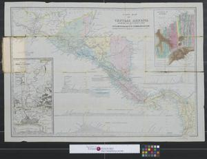 Primary view of object titled 'A new map of Central America shewing [sic.] the different lines of Atlantic and Pacific communication.'.