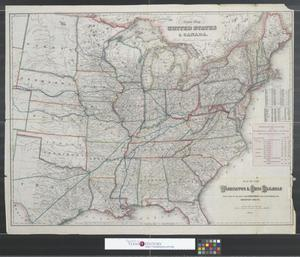 Primary view of object titled 'Map of the Washington & Ohio Railroad : with table of distance from Cincinnati east and showing the shortest route.'.
