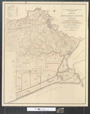 Primary view of object titled 'Map of Jefferson County, Texas : showing topography and proposed division of the county into drainage districts with systems of ditches, channel improvements, and levees for each district.'.