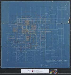 Primary view of object titled 'Map of S.E. Archer County - Texas : Showing C. E. Stalker block of leases'.
