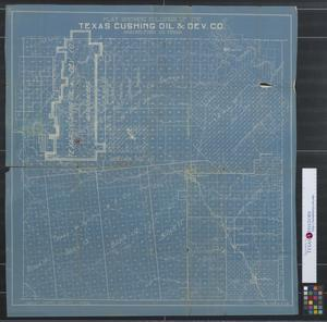 Plat showing holdings of the Texas Cushing Oil & Dev. Co., Shackelford Co. Texas.