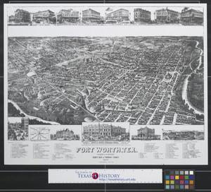 "Primary view of object titled 'Fort Worth, Tex., ""The Queen of the Prairies,"" county seat of Tarrant County.'."