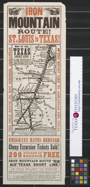 Primary view of object titled 'Map of the Texas short line: St. Louis, Iron Mountain & Southern, Texas & Pacific and International & Great Northern Railways.'.
