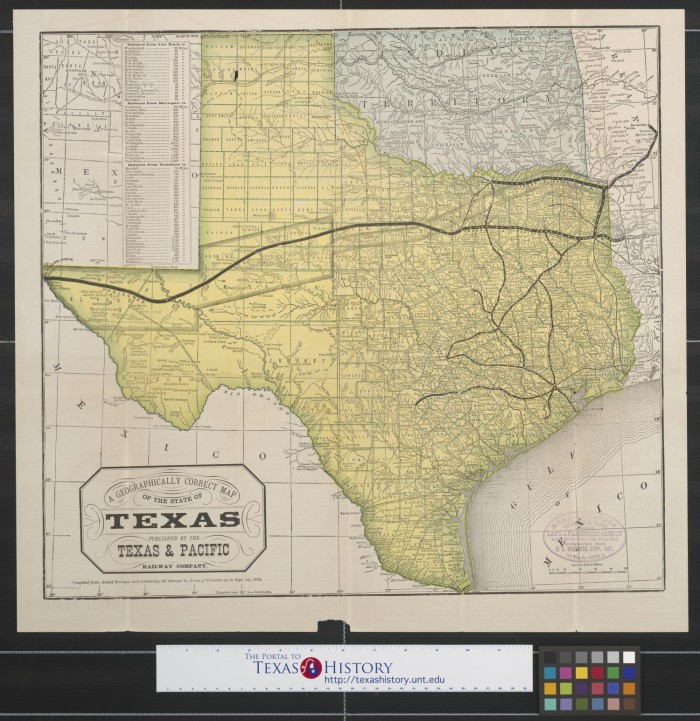 A geographically correct map of the state of texas compiled from a geographically correct map of the state of texas compiled from actual surveys and containing all changes in lines of counties up to sept 1st 1876 gumiabroncs Choice Image