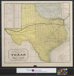 Primary view of object titled 'A geographically correct map of the State of Texas: Compiled from actual surveys, and containing all changes in lines of counties up to Sept. 1st, 1876.'.