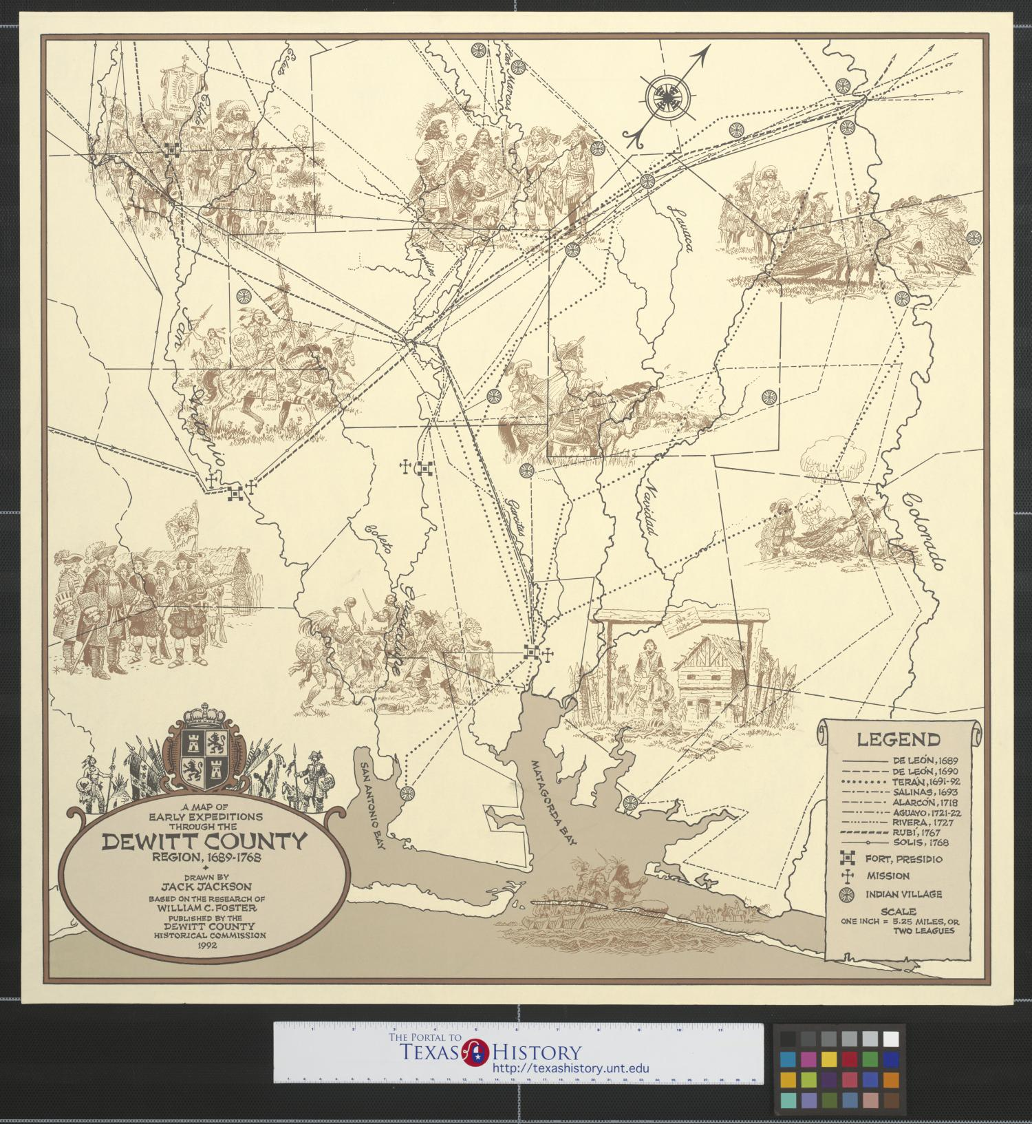 A map of early expeditions through the Dewitt County region, 1689-1768.                                                                                                      [Sequence #]: 1 of 2