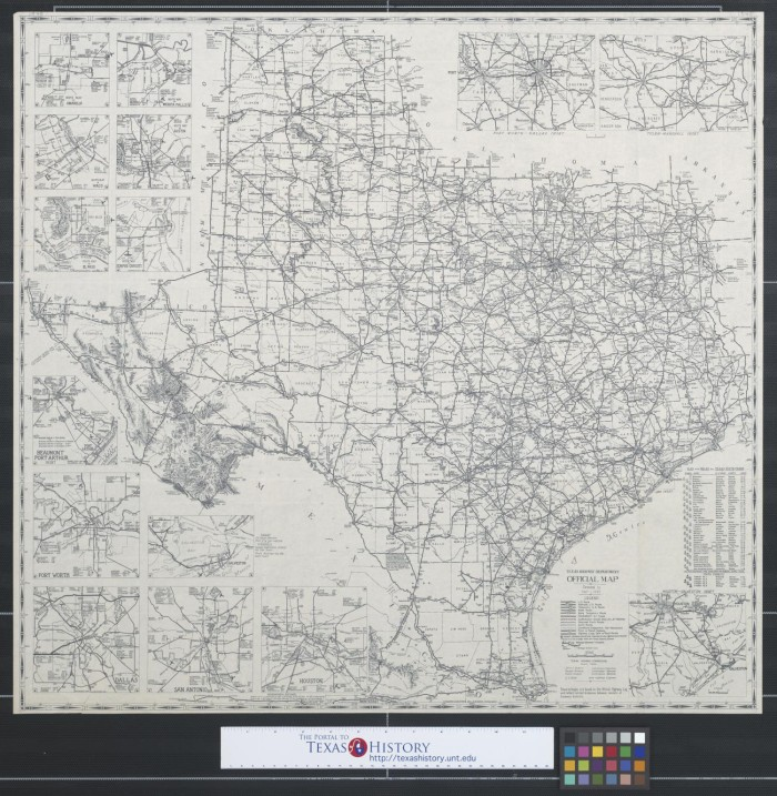 Texas Highway Department official map The Portal to Texas History – Texas Official Travel Map