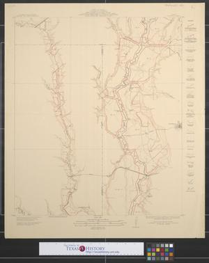Primary view of object titled 'Map showing proposed system of levees for the protection of overflowed lands accompanying engineers report of 1912 : East Fork Trinity River, Rockwall, Collin and Dallas counties, Rockwall sheet.'.