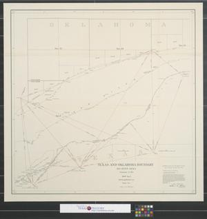 Primary view of object titled 'Texas and Oklahoma boundary : Big Bend area, December 31, 1923, map no. 2, showing medial line, sheet no. 1.'.