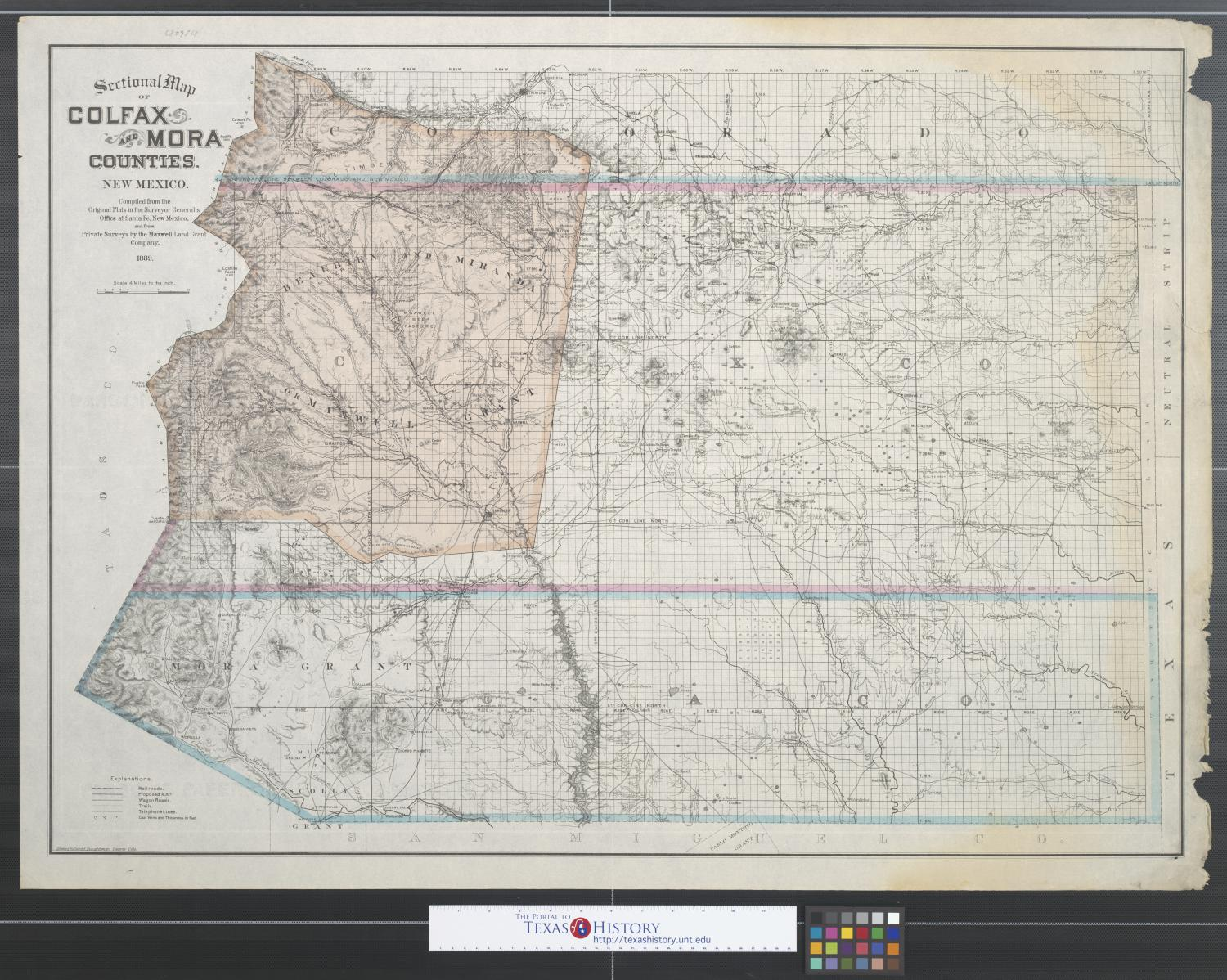 Sectional map of Colfax and Mora Counties New Mexico Compiled