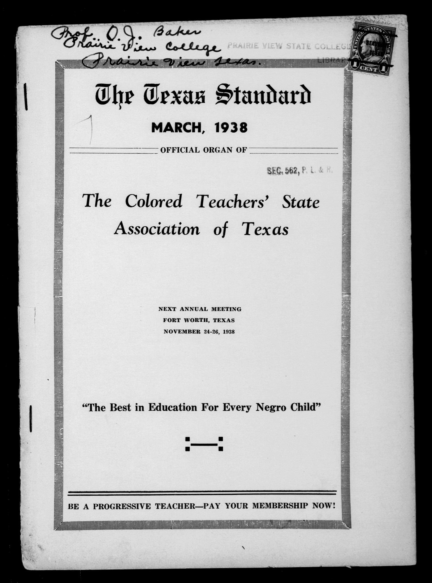 The Texas Standard, Volume 11, Number 4, March 1938                                                                                                      Front Cover