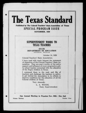 Primary view of object titled 'The Texas Standard, Volume 13, Number 4, November 1939'.