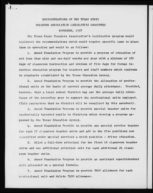 Primary view of object titled 'Recommendations of the Texas State Teachers Association Legislative Committee, November, 1958'.