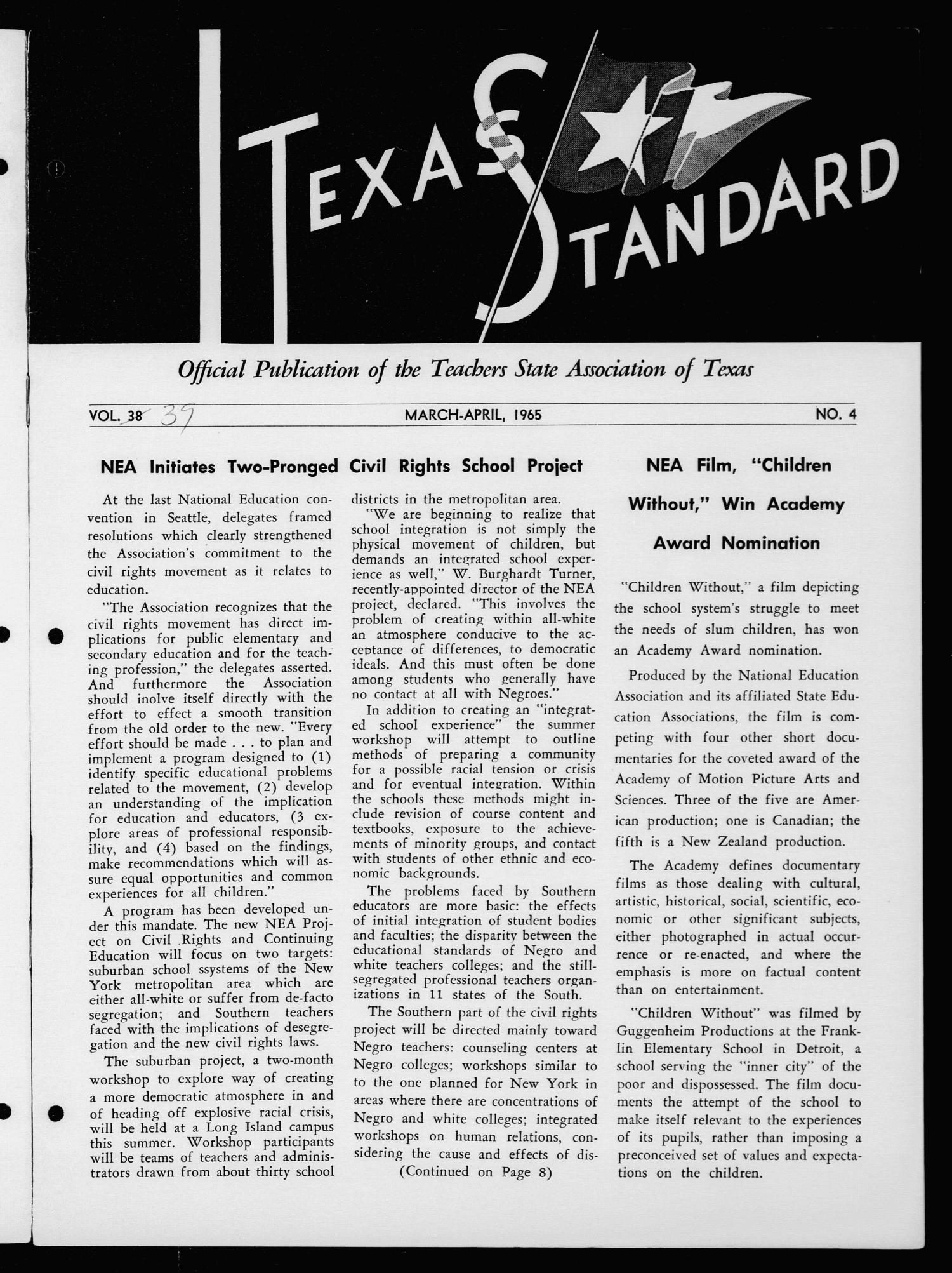 The Texas Standard, Volume [39], Number [2], March-April 1965                                                                                                      Front Cover