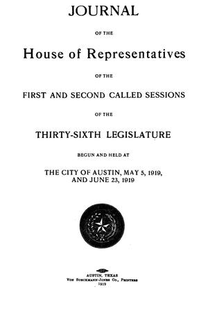 Primary view of object titled 'Journal of the House of Representatives of the First and Second Called Sessions of the Thirty-Sixth Legislature of the State of Texas'.