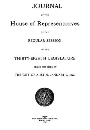Primary view of object titled 'Journal of the House of Representatives of the Regular Session of the Thirty-Eighth Legislature of the State of Texas'.