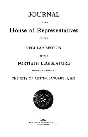 Journal of the House of Representatives of the Regular Session of the Fortieth Legislature of the State of Texas