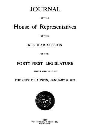 Primary view of object titled 'Journal of the House of Representatives of the Regular Session of the Forty-First Legislature of the State of Texas'.