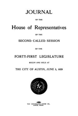 Primary view of object titled 'Journal of the House of Representatives of the Second and Third Called Sessions of the Forty-First Legislature of the State of Texas'.