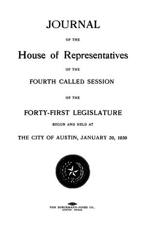 Journal of the House of Representatives of the Fourth Called Session of the Forty-First Legislature of the State of Texas