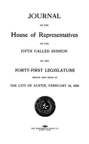Primary view of object titled 'Journal of the House of Representatives of the Fifth Called Session of the Forty-First Legislature of the State of Texas'.