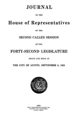 Primary view of object titled 'Journal of the House of Representatives of the Second Called Session of the Forty-Second Legislature of the State of Texas'.