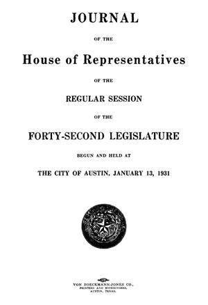 Primary view of object titled 'Journal of the House of Representatives of the Regular Session of the Forty-Second Legislature of the State of Texas, Volume 1'.
