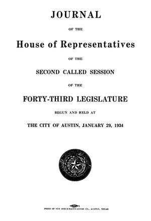 Primary view of object titled 'Journal of the House of Representatives of the Second Called Session of the Forty-Third Legislature of the State of Texas'.