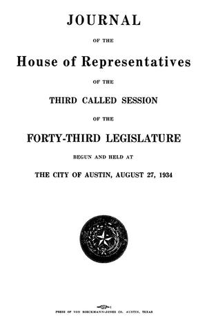 Primary view of object titled 'Journal of the House of Representatives of the Third and Fourth Called Sessions of the Forty-Third Legislature of the State of Texas'.