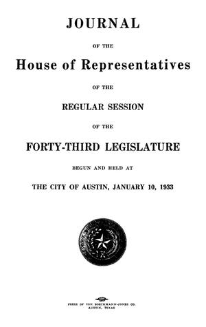 Primary view of object titled 'Journal of the House of Representatives of the Regular Session of the Forty-Third Legislature of the State of Texas, Volume 2'.