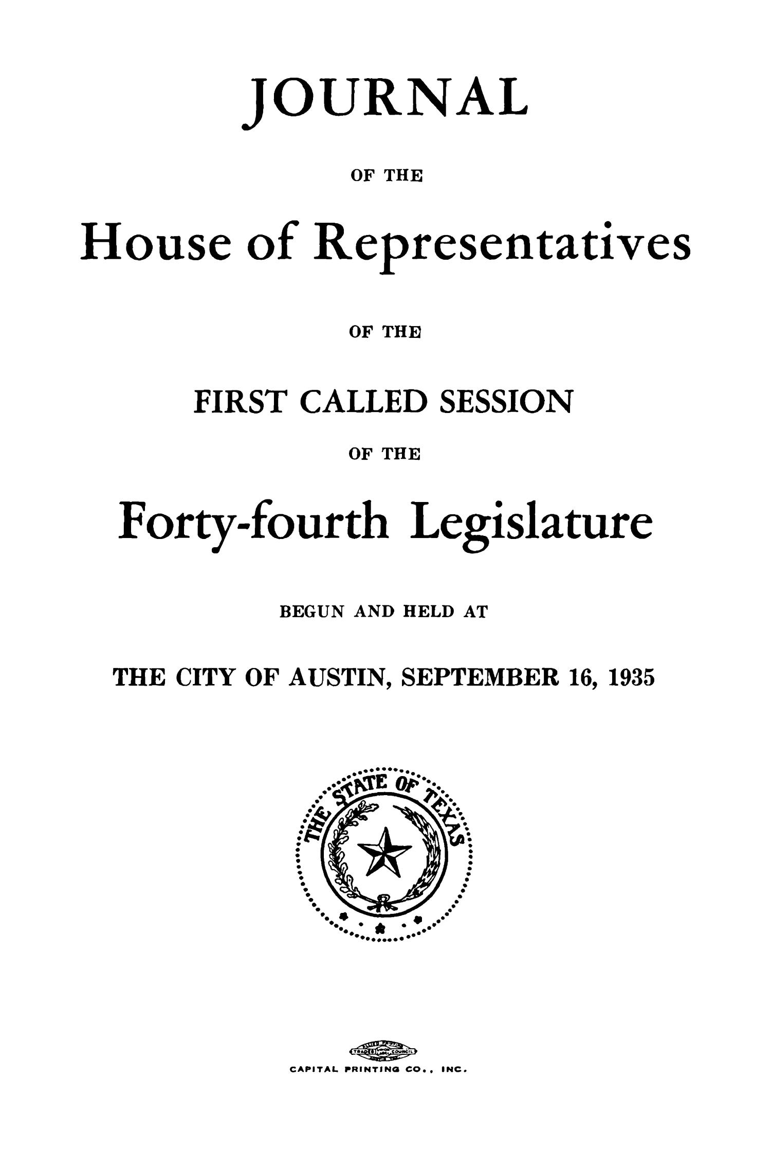 Journal of the House of Representatives of the First and Second Sessions of the Forty-Fourth Legislature of the State of Texas                                                                                                      Title Page