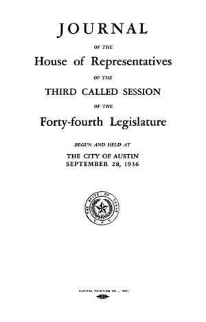 Primary view of object titled 'Journal of the House of Representatives of the Third Session of the Forty-Fourth Legislature of the State of Texas'.
