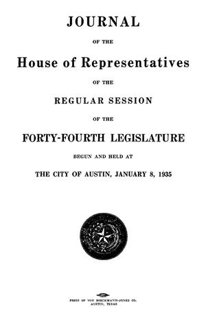 Primary view of object titled 'Journal of the House of Representatives of the Regular Session of the Forty-Fourth Legislature of the State of Texas, Volume 1'.