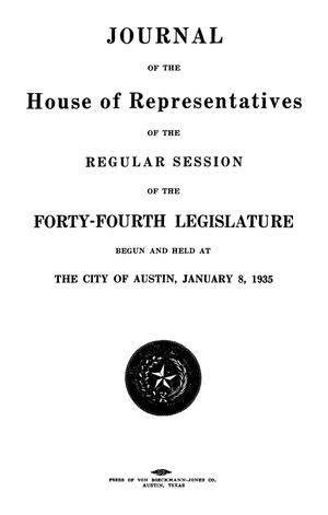 Primary view of object titled 'Journal of the House of Representatives of the Regular Session of the Forty-Fourth Legislature of the State of Texas, Volume 2'.