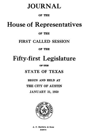 Primary view of object titled 'Journal of the House of Representatives of the First Called Session of the Fifty-First Legislature of the State of Texas'.