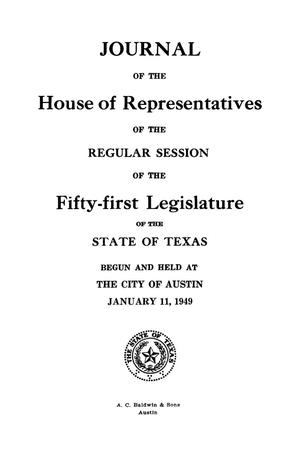 Primary view of object titled 'Journal of the House of Representatives of the Regular Session of the Fifty-First Legislature of the State of Texas, Volume 1'.