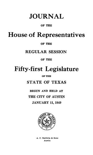 Primary view of object titled 'Journal of the House of Representatives of the Regular Session of the Fifty-First Legislature of the State of Texas, Volume 2'.