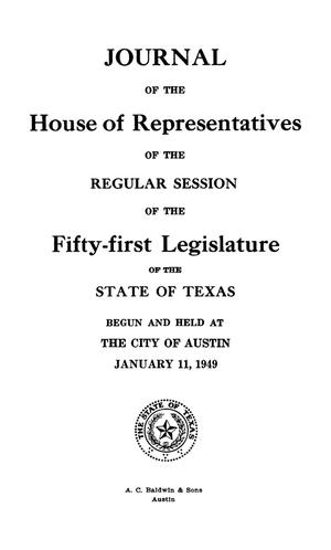 Primary view of object titled 'Journal of the House of Representatives of the Regular Session of the Fifty-First Legislature of the State of Texas, Volume 3'.