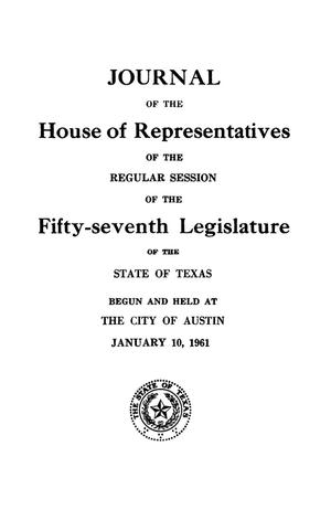 Primary view of object titled 'Journal of the House of Representatives of the Regular Session of the Fifty-Seventh Legislature of the State of Texas, Volume 2'.
