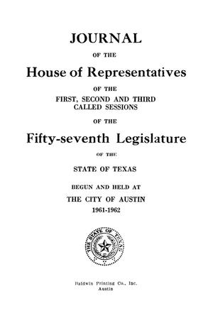 Primary view of object titled 'Journal of the House of Representatives of the First, Second, and Third Called Sessions of the Fifty-Seventh Legislature of the State of Texas'.