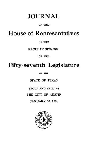 Primary view of object titled 'Journal of the House of Representatives of the Regular Session of the Fifty-Seventh Legislature of the State of Texas, Volume 1'.