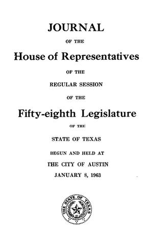 Journal of the House of Representatives of the Regular Session of the Fifty-Eighth Legislature of the State of Texas, Volume 1
