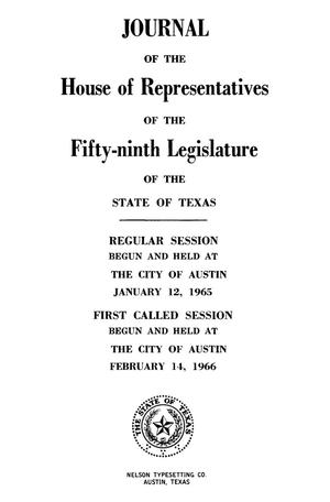 Primary view of object titled 'Journal of the House of Representatives Regular Session, Volume 2, and First Called Session of the Fifty-Ninth Legislature'.