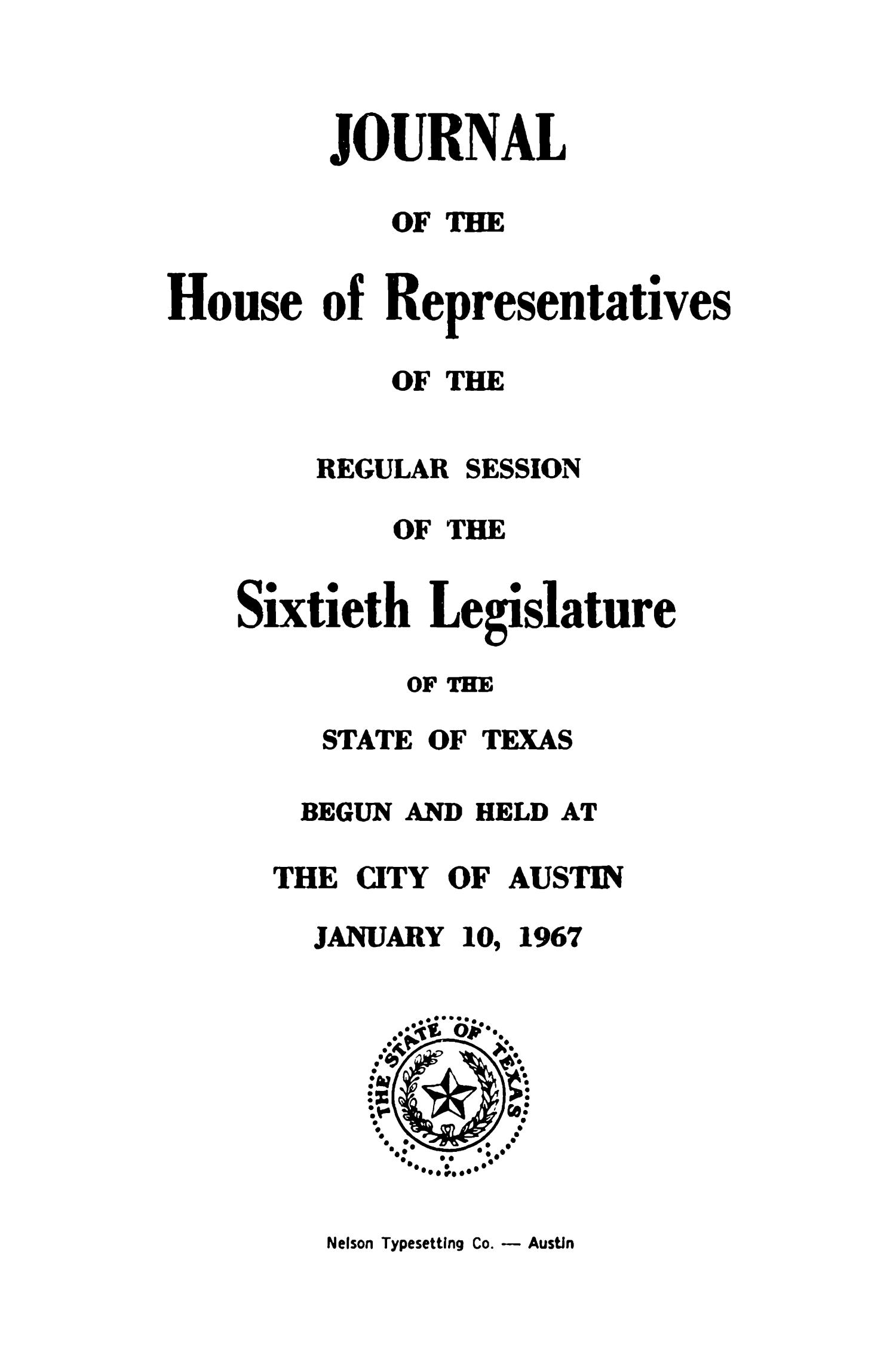 Journal of the House of Representatives of the Regular Session of the Sixtieth Legislature of the State of Texas, Volume 1                                                                                                      Title Page
