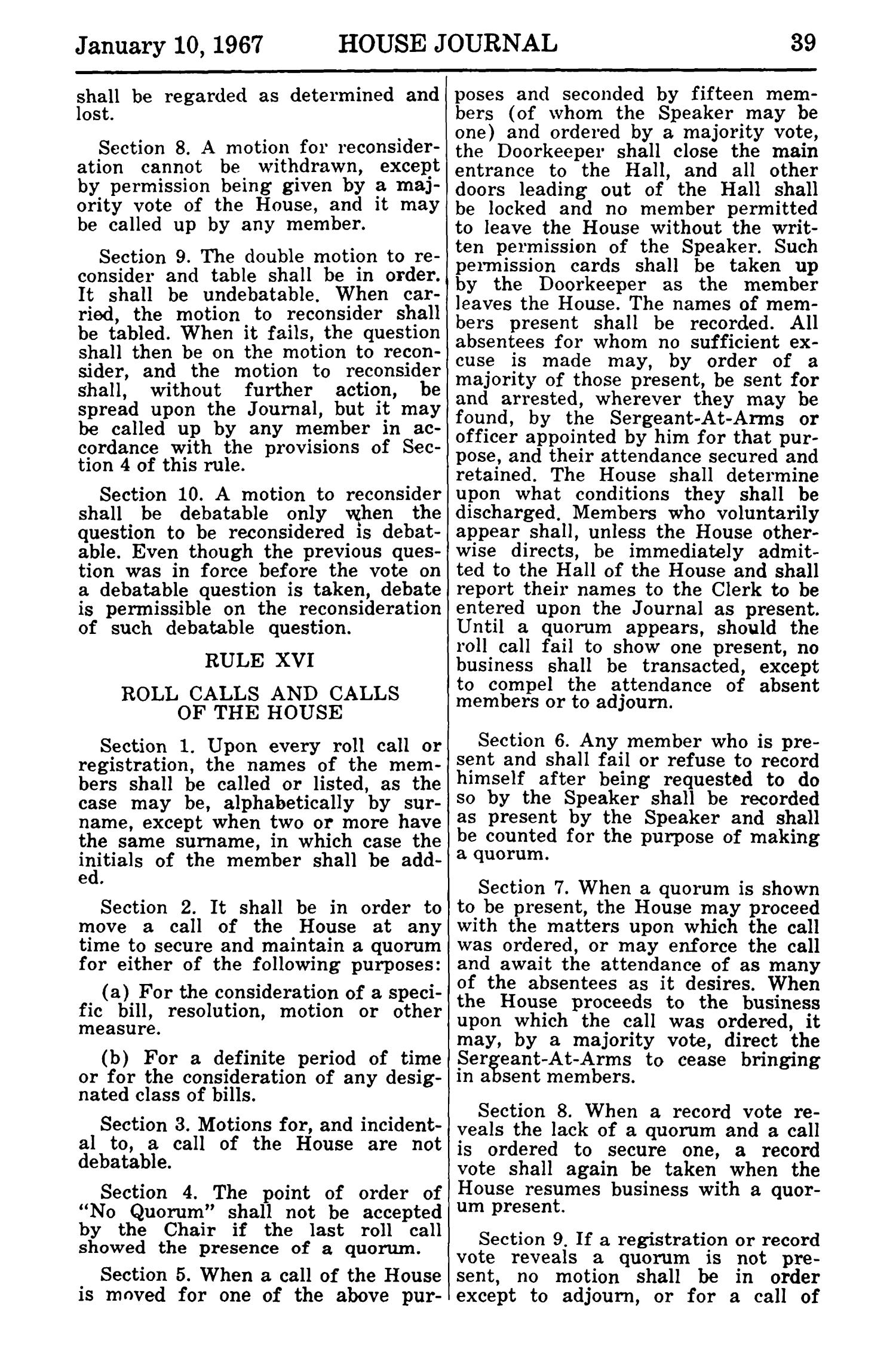 Journal of the House of Representatives of the Regular Session of the Sixtieth Legislature of the State of Texas, Volume 1                                                                                                      39
