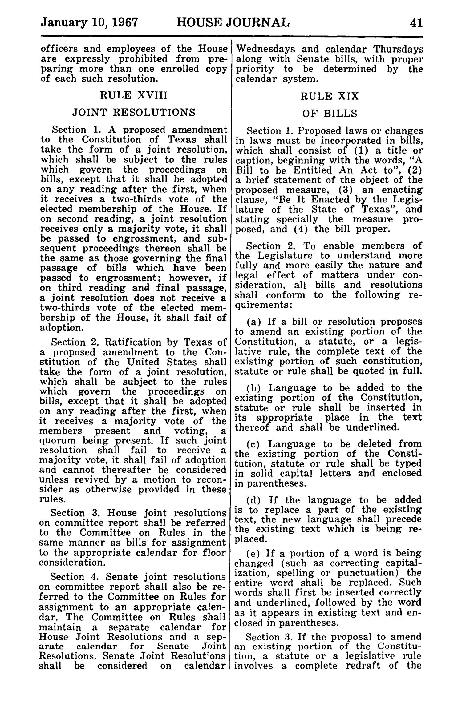 Journal of the House of Representatives of the Regular Session of the Sixtieth Legislature of the State of Texas, Volume 1                                                                                                      41
