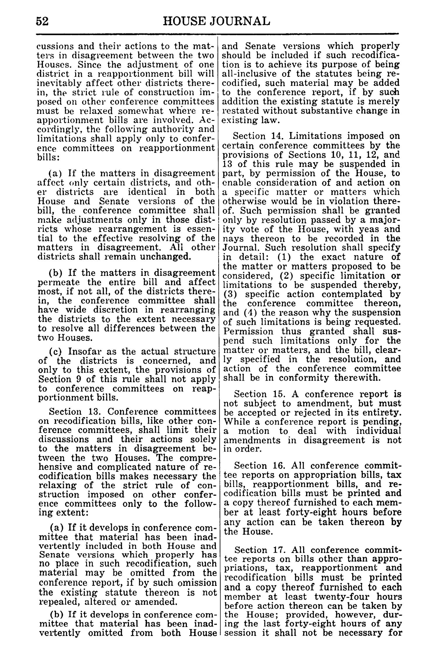 Journal of the House of Representatives of the Regular Session of the Sixtieth Legislature of the State of Texas, Volume 1                                                                                                      52